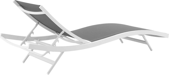 Glimpse Outdoor Patio Lounge Chair White & Gray