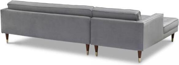 Somerset Velvet Right Sectional Sofa Gray