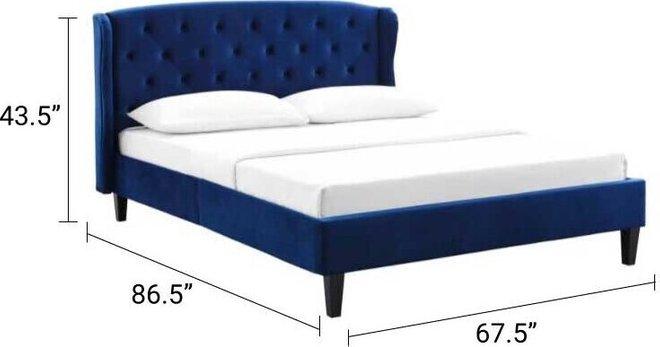 Penelope Velvet Queen Bed Navy