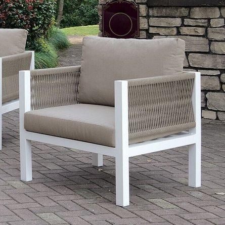 Sasha Outdoor Arm Chair White & Light Taupe