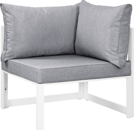 Fortuna Corner Outdoor Armchair Gray & White