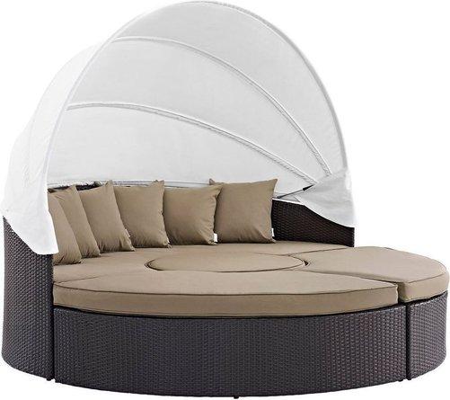 Convene Canopy Outdoor Patio 4 Piece Daybed Set Espresso & Mocha