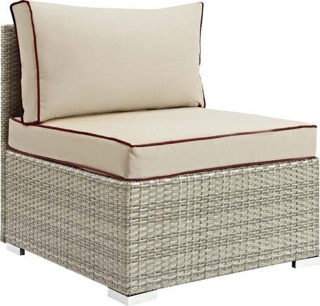 Repose Outdoor Patio Armless Chair Light Gray Beige