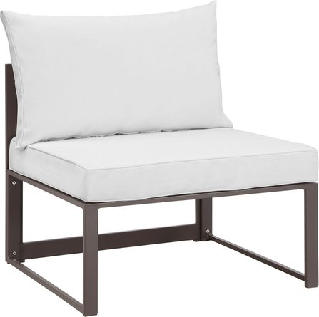 Fortuna Armless Outdoor Patio Chair Brown & White