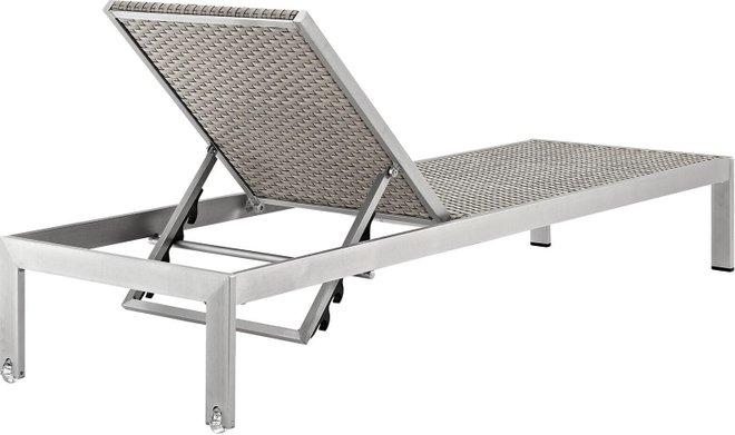 """Shore 76"""" Outdoor Chaise Silver & Gray"""