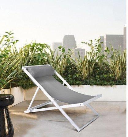 Ursa Major Outdoor Patio Aluminum Deck Chair White