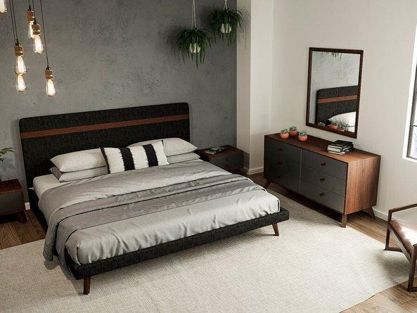 Dali Modern Queen Bed Gray & Walnut