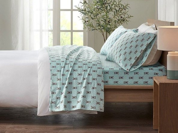 Cozy Cotton Flannel Twin XL Printed Sheet Set Aqua French