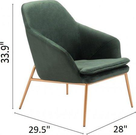 Debonair Arm Chair Green Velvet