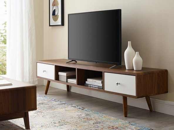 """Transmit 70"""" Media Console Wood TV Stand Walnut And White"""