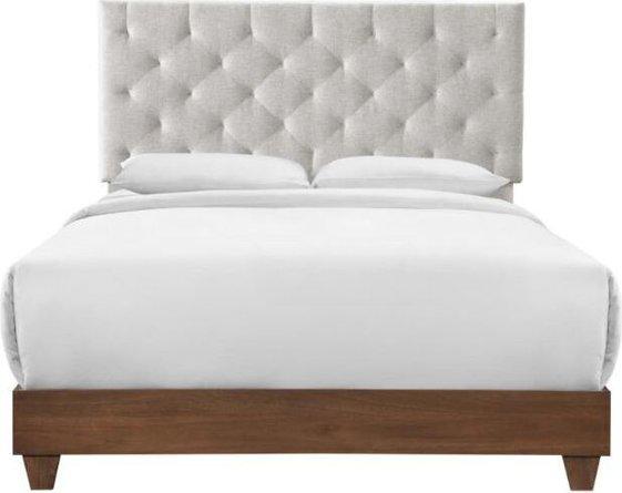 Rhiannon Queen Bed Walnut & Beige