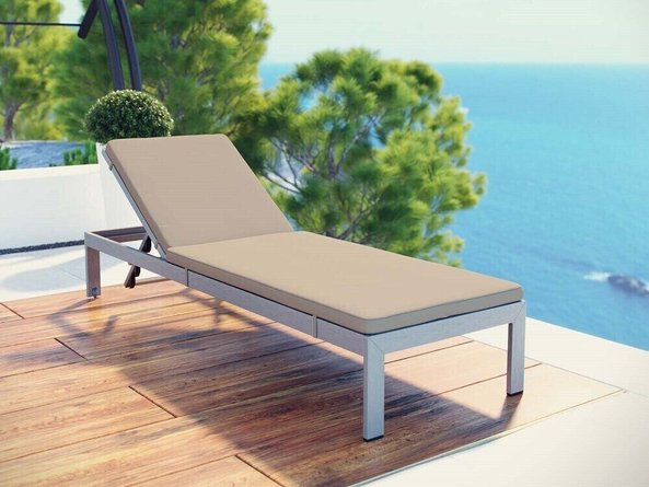 Shore Outdoor Patio Chaise with Cushions Silver & Beige