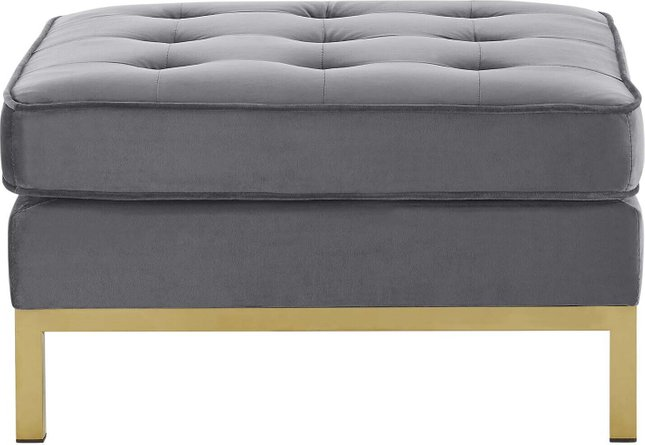Loft Gold Stainless Steel Leg Performance Velvet Ottoman Gold Gray