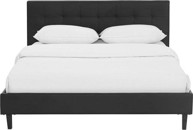 Linnea Full Faux Leather Bed Black