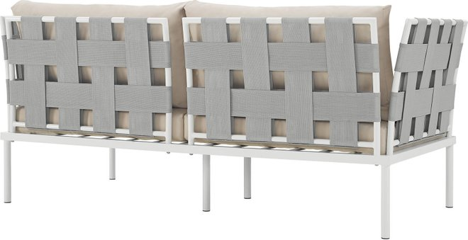 Harmony Outdoor Patio Aluminum Loveseat White Beige