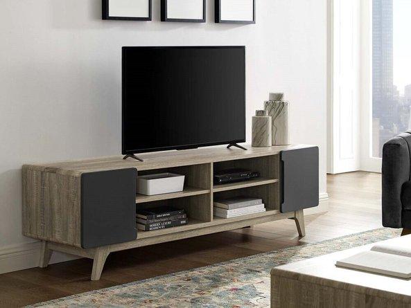 "Tread 70"" Media Console TV Stand Natural Gray"