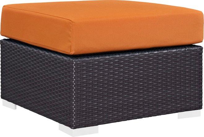 Convene Outdoor Patio Fabric Square Ottoman Espresso Orange