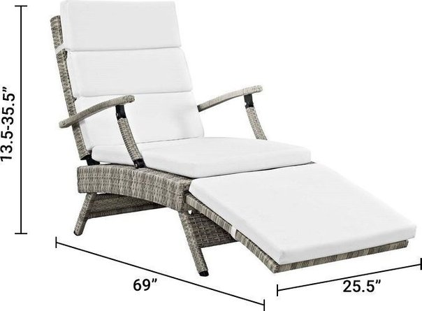 Envisage Chaise Outdoor Patio Lounge Chair Light Gray & White