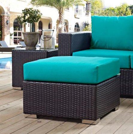 Convene Outdoor Patio Ottoman Turquoise