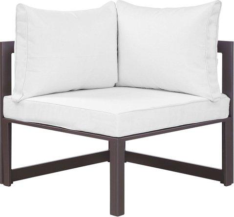 Fortuna Corner Outdoor Patio Chair Brown & White