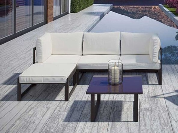 Fortuna Outdoor Ottoman Brown & White