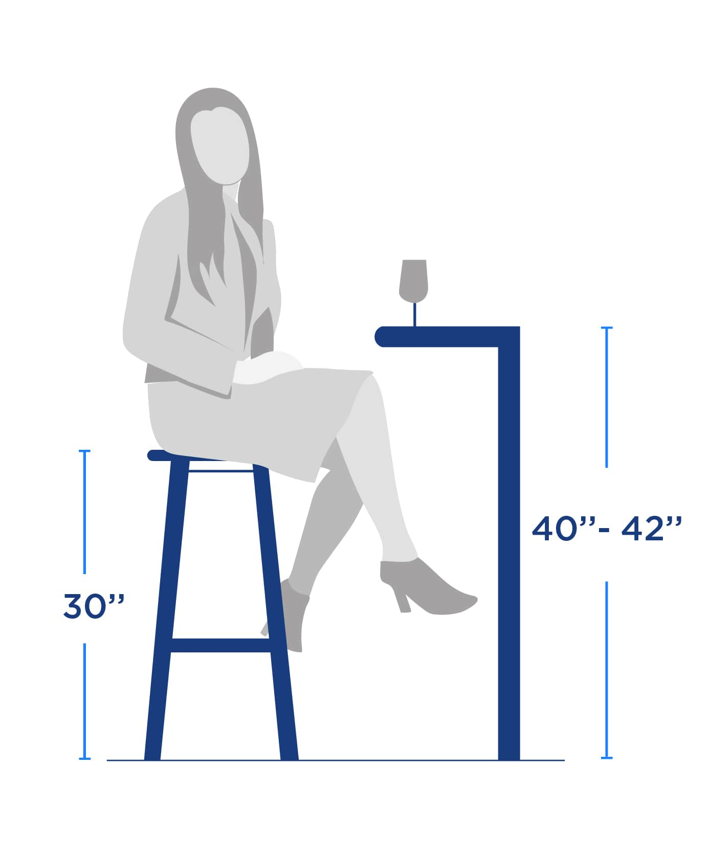bar table bar height size size guide